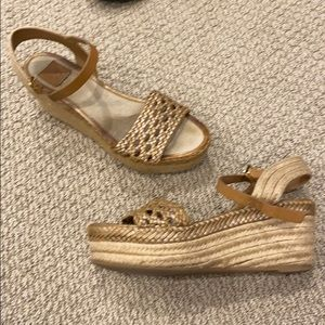 Gold rattan brown espadrille